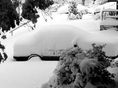 BMW-shaped snow drift